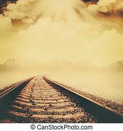vasút, át, a, holt, völgy, elvont, környezeti, háttér
