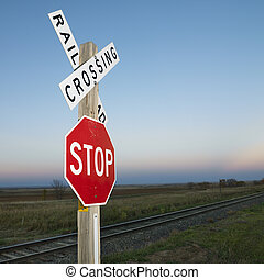 vasút, és, abbahagy, cégtábla.