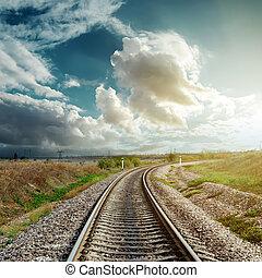 vasút, őt jár, fordíts, felhős, horizont