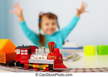 vasút, boldog, játék, gyermek
