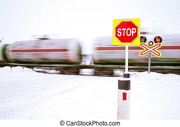 vasút, crossing., megáll cégtábla
