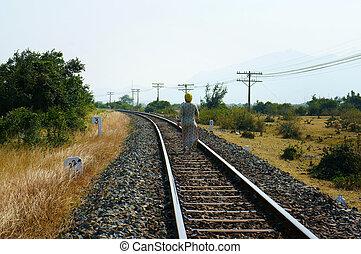 vasút, elhagyott, woman jár
