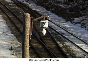 vasút, lámpa, felett