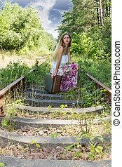vasút, nő, bőrönd