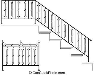 vas, tervezés, feldolgozott, lépcsősor sín