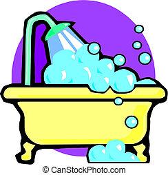 vasca bagno, illustrazione