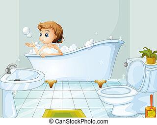vasca bagno, presa, donna, giovane, bagno
