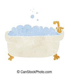vasca bagno, retro, cartone animato