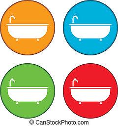 vasca bagno, set, icone