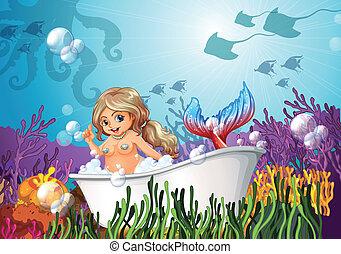 vasca bagno, sirena, mare, sotto