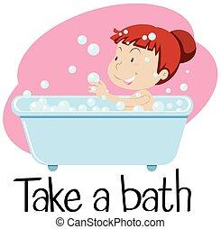 vasca, wordcard, prendere, ragazza, bagno