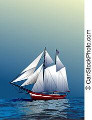 vascello navigazione, vecchio, opuscolo, coperchio