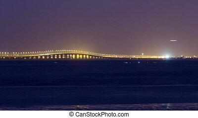 Vasco da Gama bridge in Lisbon by night, Portugal timelapse...