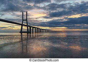 Vasco da Gama Bridge landscape at sunrise