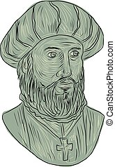 Vasco da Gama Explorer Bust Drawing - Drawing sketch style...