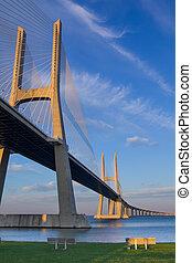 Vasco da Gama suspension Bridge, bench in front