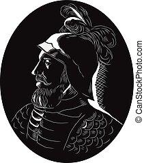 Vasco Nunez de Balboa Conquistador Woodcut