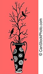 Vase and birds - Big vase with branch of tree and two birds...