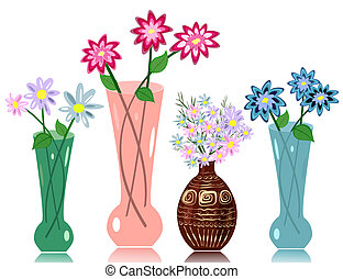 vase, blomster