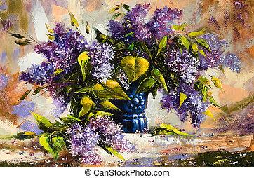 vase, bouquet, lilas