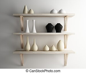vase ceramic and wood shelf decorate of interior