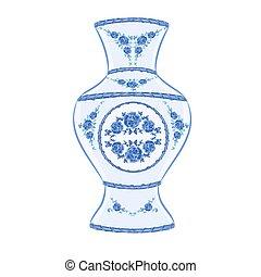Vase faience porcelain vintage vector illustration