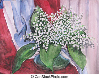 vase, fleurs, bouquet, aquarelle, drawing.