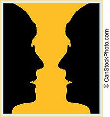 Vase, Illusion - Is it a golden vase on a black background?...