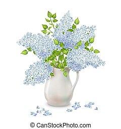 vase, lilas, vecteur