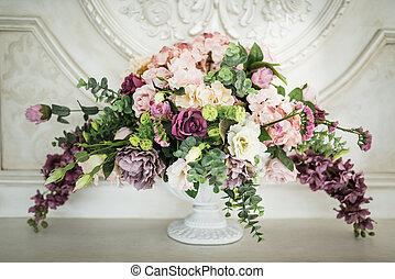 vase, milieu de table, verre, coloré, arrangement fleur