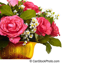 Vase of colorful flowers on a white background