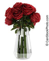 Vase of deep burgundy red roses - Vase of romantic deep...