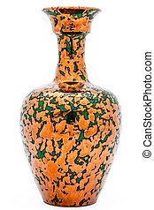 Vase of metallic aspect on a white background