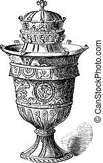 Vase of Rouen, vintage engraving.