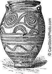 Vase of Santorini, vintage engraving.
