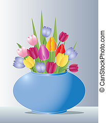 vase of tulips - illustration of a blue ceramic vase full of...