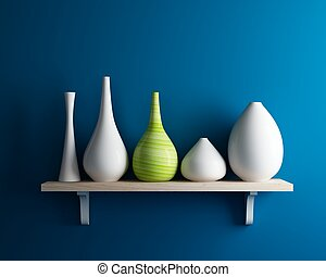 vase on shelf with blue wall interior