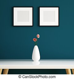 Vase on white table and picture frame decorated