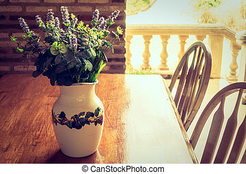 Vase plant decoration with outdoor view