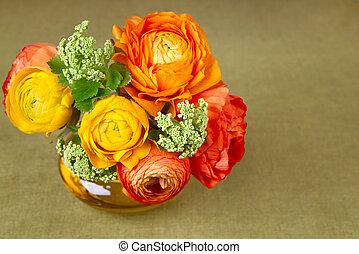 vase, ranunculus, bouquet, fleur, beau