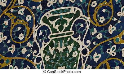 Vase Tiled Design on Wall - Steady, close up shot of a vase...