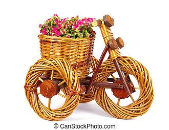 vase, vélo, fleurs