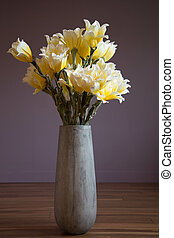 Vase white yellow flowers purple background shades interior