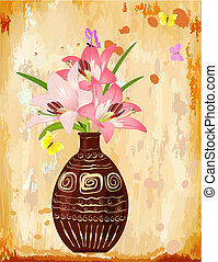 Vase with a bouquet of lilies
