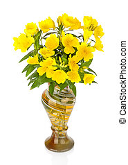vase with beautiful yellow flowers
