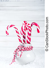 Vase with christmas candy canes