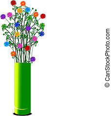 vase with colorful flowers