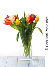 vase with colorful tulips