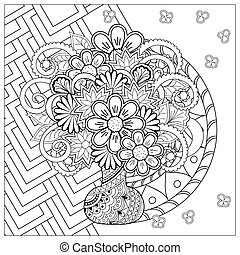 vase with doodle flowers and mandala - Monochrome card with...