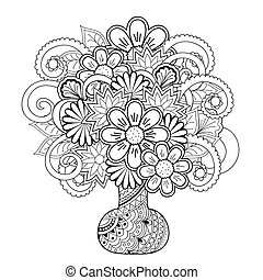 vase with doodle flowers - Hand drawn monochrome print with...